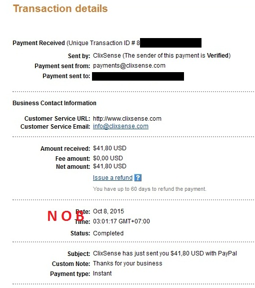 Clixsense Payout October 2015