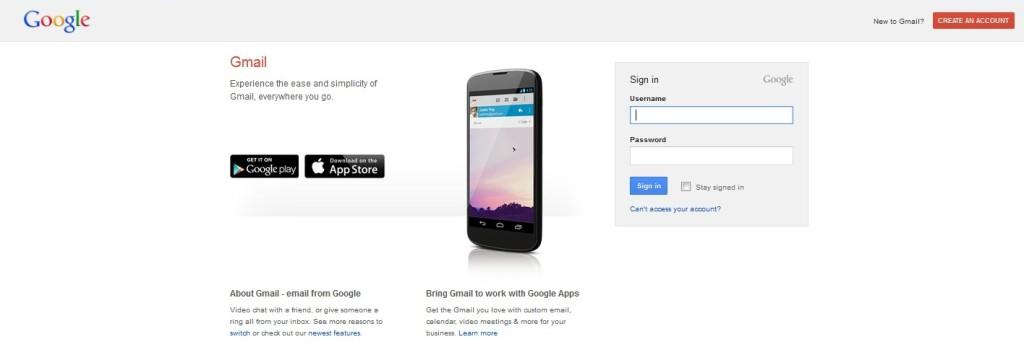 Tampilan Depan Gmail