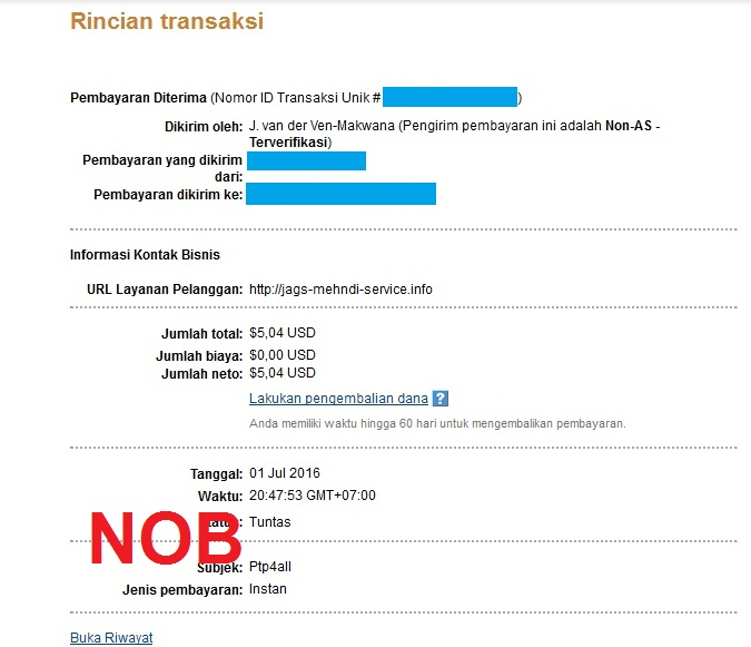 PTP4all Payment Proof July 2016