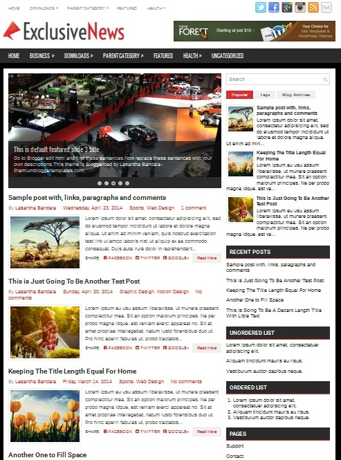 Template blogger Exclusive News (gambar)