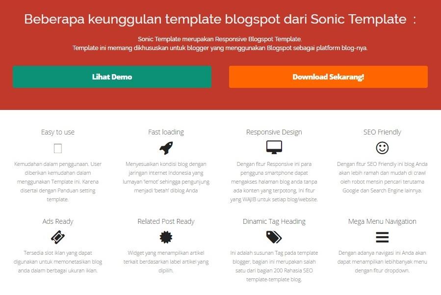 Template Blog Premium Sonic