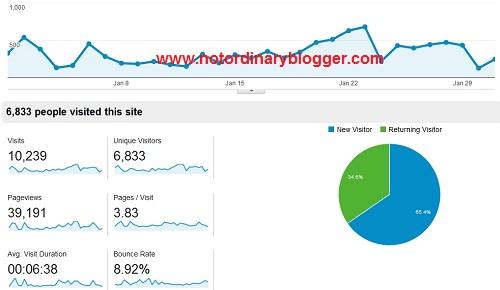 Notordinaryblogger Traffic Stat January 2014